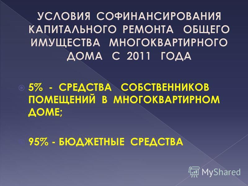 5% - СРЕДСТВА СОБСТВЕННИКОВ ПОМЕЩЕНИЙ В МНОГОКВАРТИРНОМ ДОМЕ; 95% - БЮДЖЕТНЫЕ СРЕДСТВА