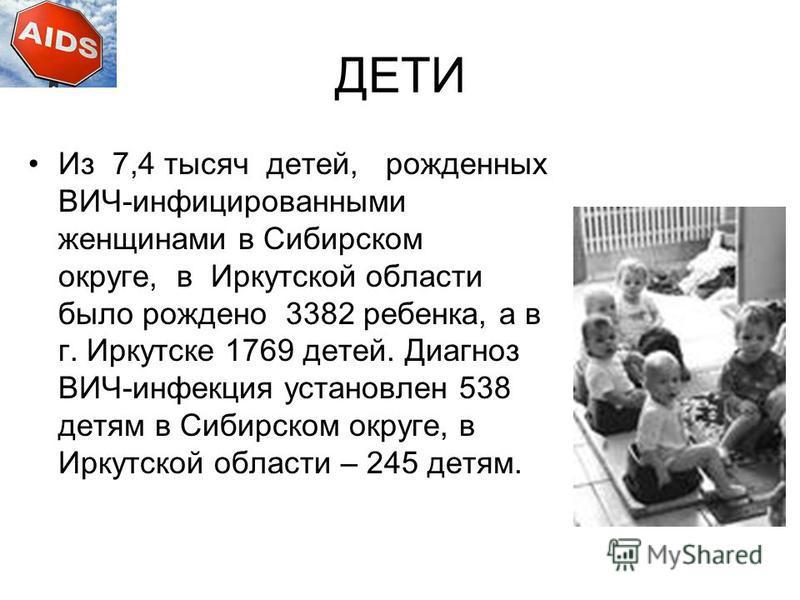 ДЕТИ Из 7,4 тысяч детей, рожденных ВИЧ-инфицированными женщинами в Сибирском округе, в Иркутской области было рождено 3382 ребенка, а в г. Иркутске 1769 детей. Диагноз ВИЧ-инфекция установлен 538 детям в Сибирском округе, в Иркутской области – 245 де