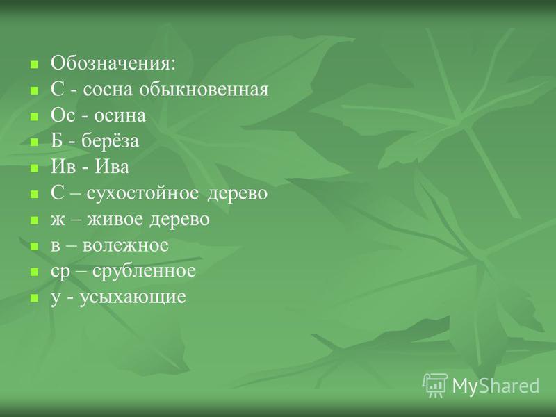 Обозначения: С - сосна обыкновенная Ос - осина Б - берёза Ив - Ива С – сухостойное дерево ж – живое дерево в – валежное ср – срубленное у - усыхающие