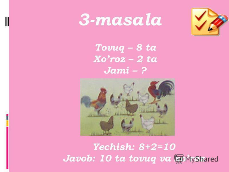 2-misol Mustaqil ish javobi 7+3 > 8 5+3 < 9 7+1 = 8 9-1< 9 6-4 < 8 5+4 = 9 4+5 > 6 3+7 > 4 4+4 = 8