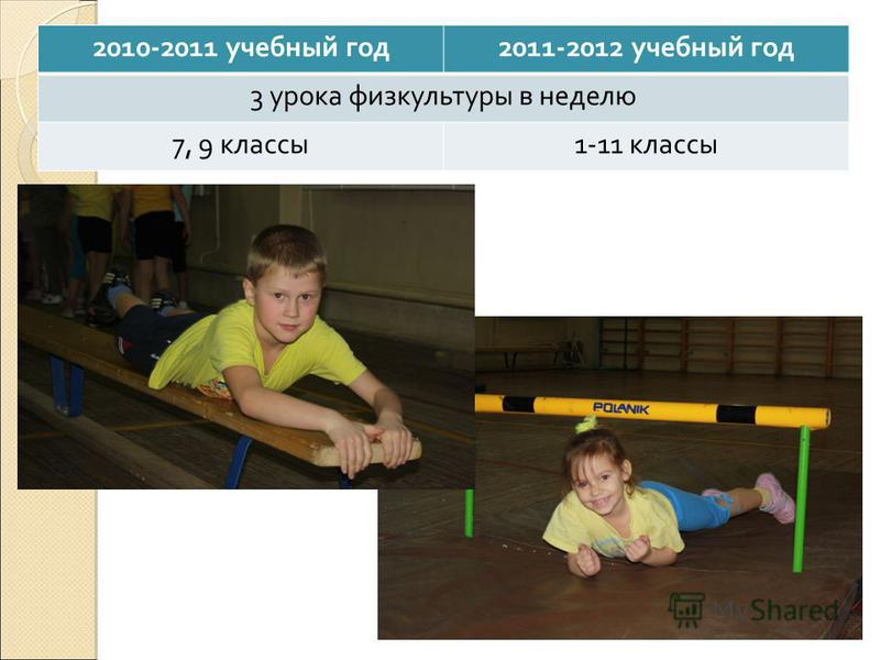 2010-2011 учебный год 2011-2012 учебный год 3 урока физкультуры в неделю 7, 9 классы 1-11 классы