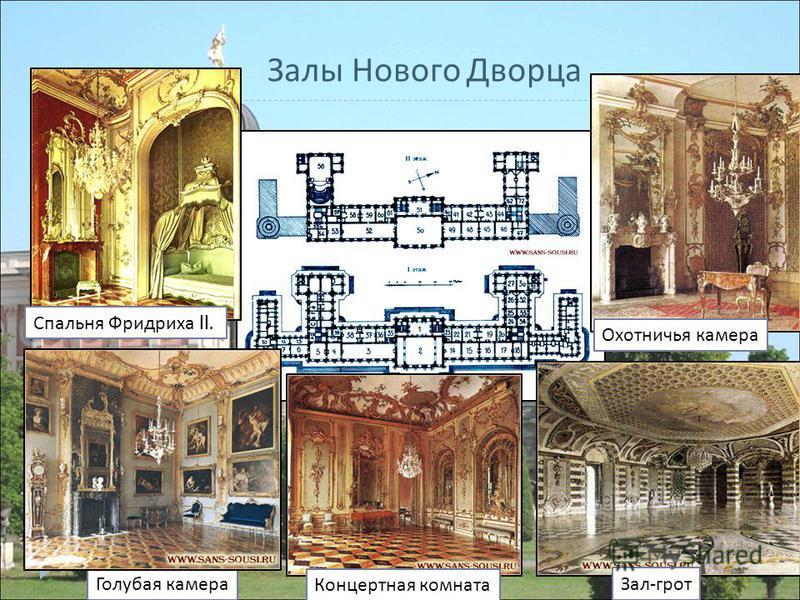 Голубая камера Концертная комната Зал - грот Спальня Фридриха II. Охотничья камера Залы Нового Дворца