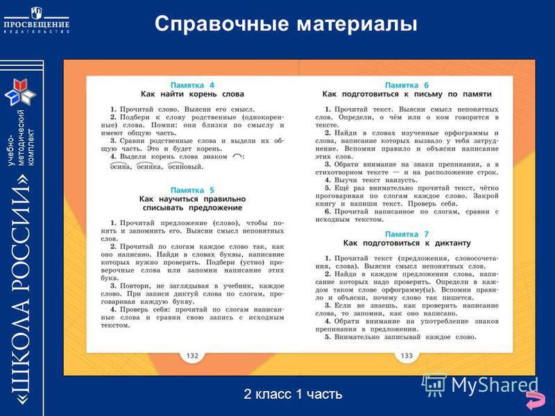 учебно- методический комплект Справочные материалы 2 класс 1 часть