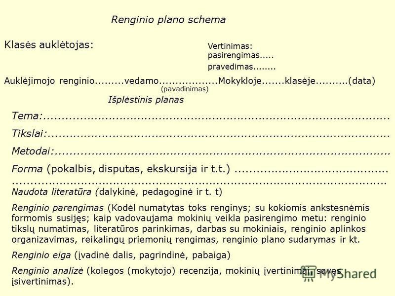 Renginio plano schema Klasės auklėtojas: Vertinimas: pasirengimas..... pravedimas........ Auklėjimojo renginio.........vedamo..................Mokykloje.......klasėje..........(data) (pavadinimas) Išplėstinis planas Tema:.............................