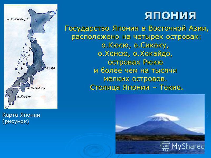 ЯПОНИЯ Карта Японии (рисунок) Государство Япония в Восточной Азии, расположено на четырех островах: расположено на четырех островах: о.Кюсю, о.Сикоку, о.Хонсю, о.Хокайдо, островах Рюкю и более чем на тысячи мелких островов. Столица Японии – Токио.