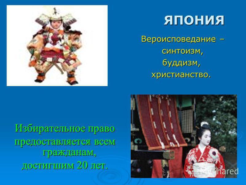 Избирательное право предоставляется всем гражданам, достигшим 20 лет. ЯПОНИЯ Вероисповедание – синтоизм, синтоизм,буддизм,христианство.