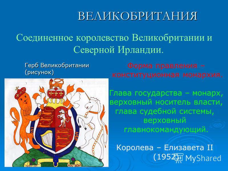 ВЕЛИКОБРИТАНИЯ Соединенное королевство Великобритании и Северной Ирландии. Герб Великобритании (рисунок) Форма правления – конституционная монархия. Глава государства – монарх, верховный носитель власти, глава судебной системы, верховный главнокоманд