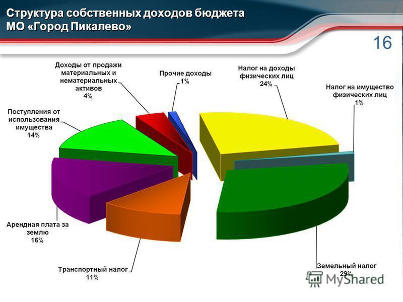 16 Структура собственных доходов бюджета МО «Город Пикалево»