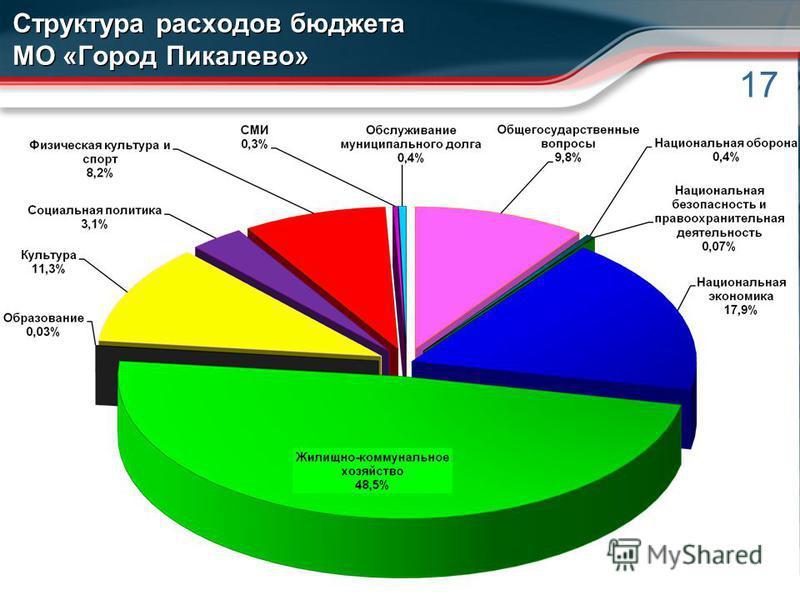 17 Структура расходов бюджета МО «Город Пикалево»