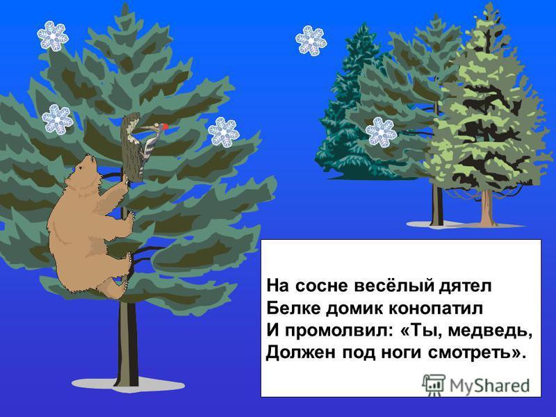 На сосне весёлый дятел Белке домик конопатил И промолвил: «Ты, медведь, Должен под ноги смотреть».