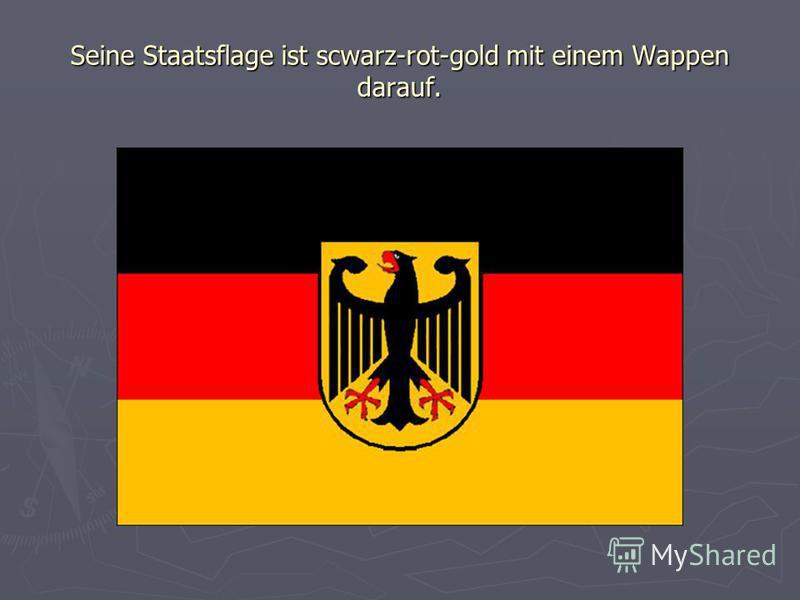 Seine Staatsflage ist scwarz-rot-gold mit einem Wappen darauf.