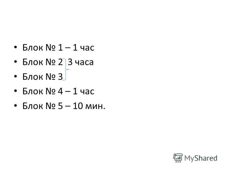 Блок 1 – 1 час Блок 2 3 часа Блок 3 Блок 4 – 1 час Блок 5 – 10 мин.