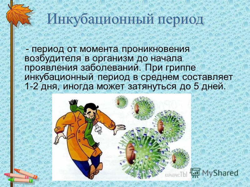 - период от момента проникновения возбудителя в организм до начала проявления заболеваний. При гриппе инкубационный период в среднем составляет 1-2 дня, иногда может затянуться до 5 дней. Инкубационный период