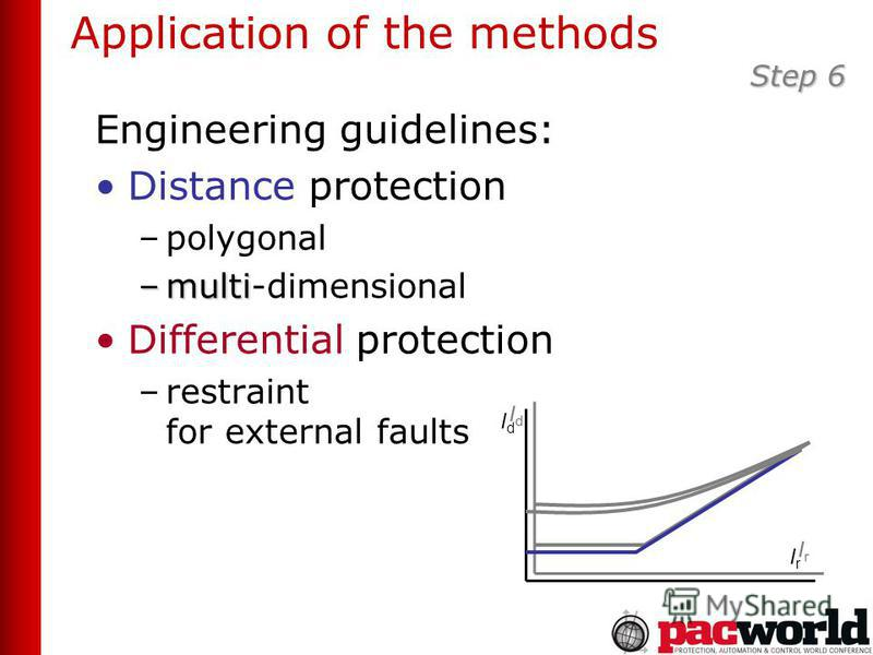 Application of the methods Engineering guidelines: Distance protection –polygonal –multi –multi-dimensional Differential protection –restraint for external faults IdId IdId IrIr IrIr Step 6