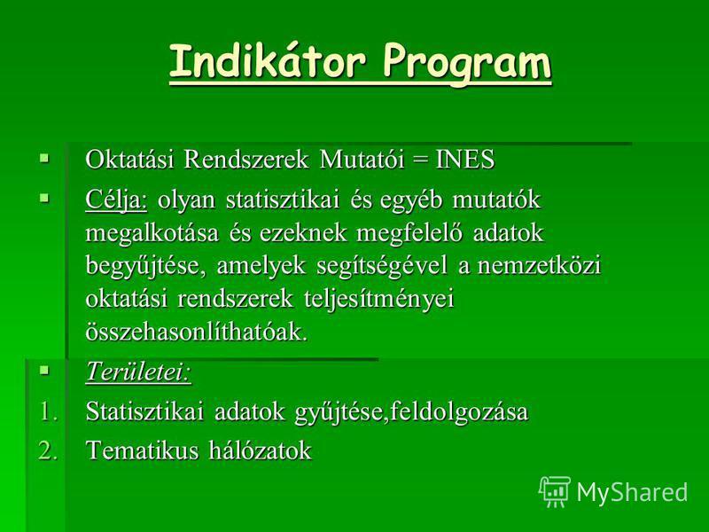 Indikátor Program Oktatási Rendszerek Mutatói = INES Oktatási Rendszerek Mutatói = INES Célja: olyan statisztikai és egyéb mutatók megalkotása és ezeknek megfelelő adatok begyűjtése, amelyek segítségével a nemzetközi oktatási rendszerek teljesítménye