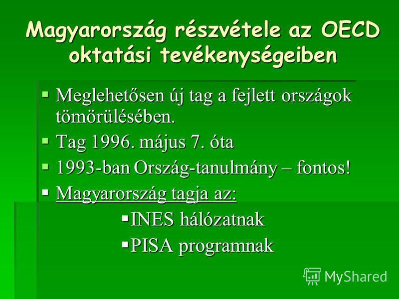 Magyarország részvétele az OECD oktatási tevékenységeiben Meglehetősen új tag a fejlett országok tömörülésében. Meglehetősen új tag a fejlett országok tömörülésében. Tag 1996. május 7. óta Tag 1996. május 7. óta 1993-ban Ország-tanulmány – fontos! 19
