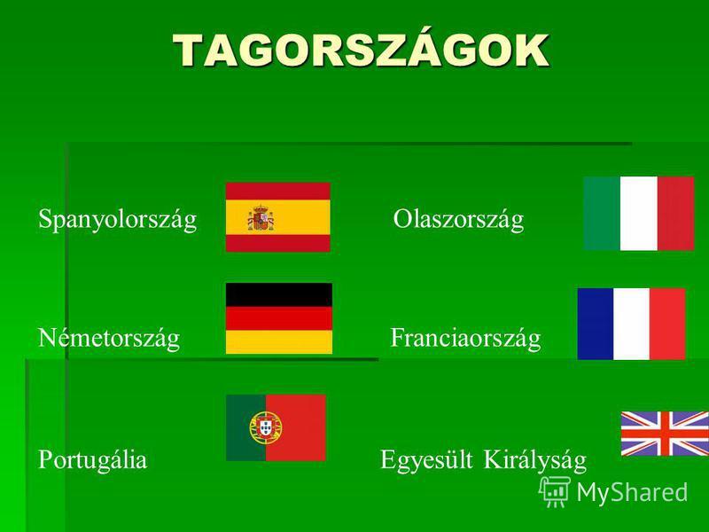 TAGORSZÁGOK Spanyolország Olaszország Németország Franciaország Portugália Egyesült Királyság