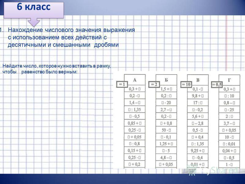 6 класс 1. Нахождение числового значения выражения с использованием всех действий с десятичными и смешанными дробями Найдите число, которое нужно вставить в рамку, чтобы равенство было верным: