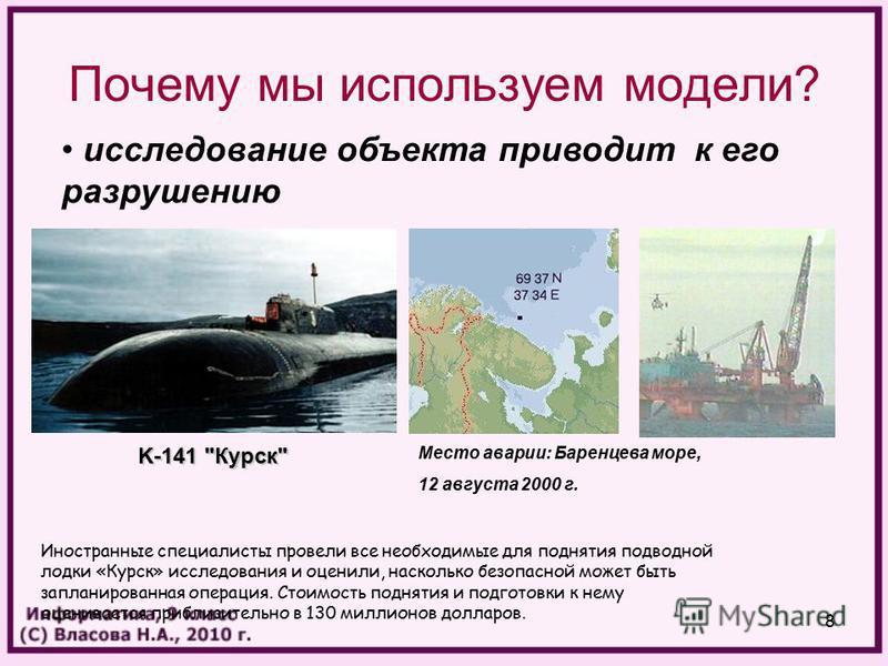 8 Почему мы используем модели? исследование объекта приводит к его разрушению Место аварии: Баренцева море, 12 августа 2000 г. K-141