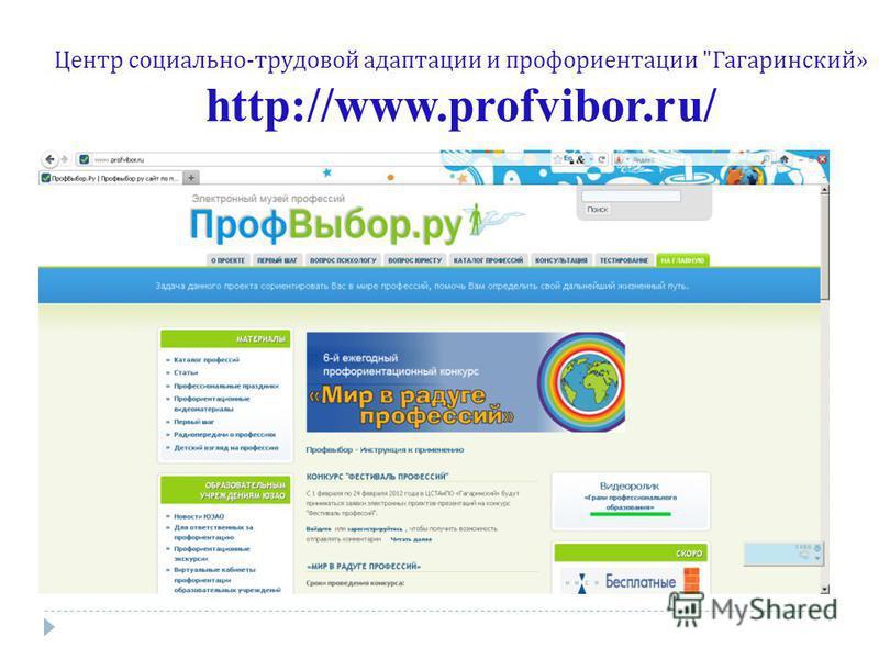 Центр социально - трудовой адаптации и профориентации  Гагаринский » http://www.profvibor.ru/
