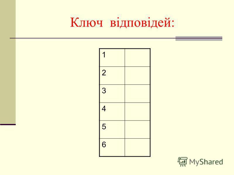 Ключ відповідей: 1 2 3 4 5 6