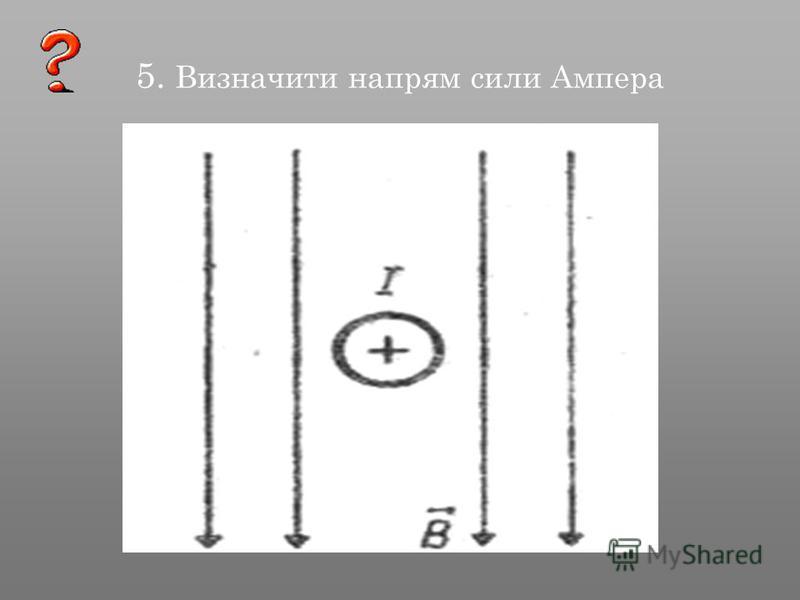 5. Визначити напрям сили Ампера