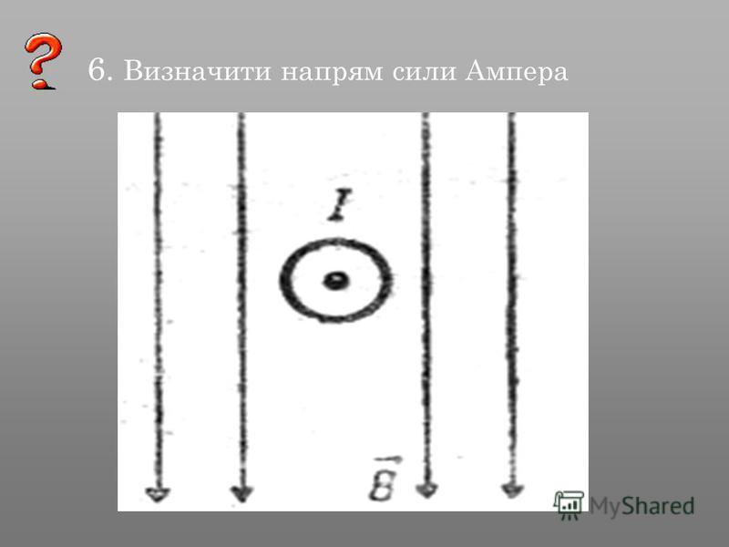 6. Визначити напрям сили Ампера