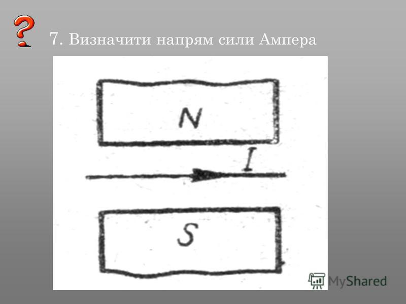 7. Визначити напрям сили Ампера