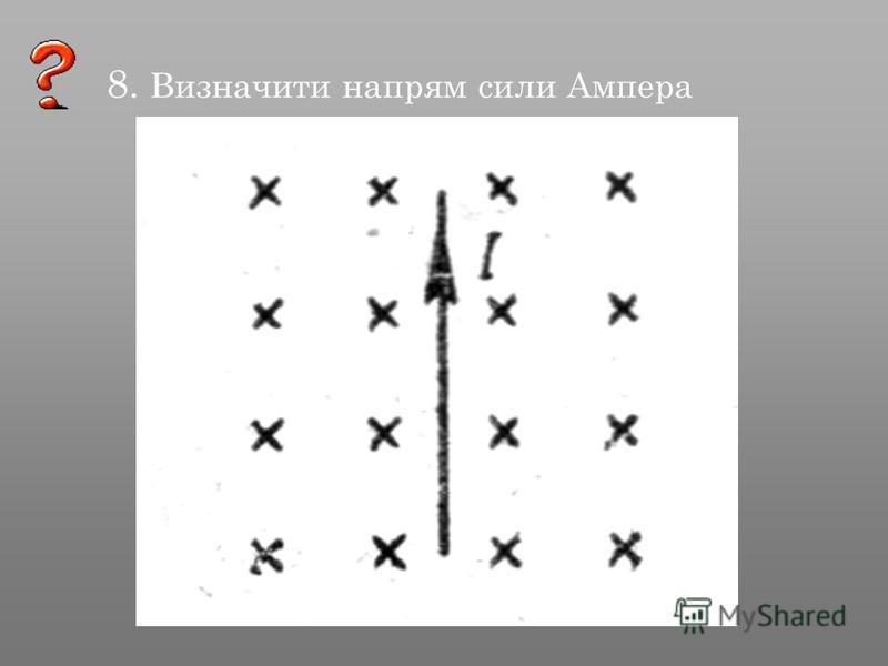 8. Визначити напрям сили Ампера