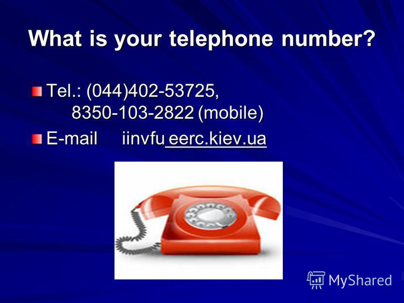 What is your telephone number? Tel.: (044)402-53725, 8350-103-2822 (mobile) E-mail iinvfu eerc.kiev.ua