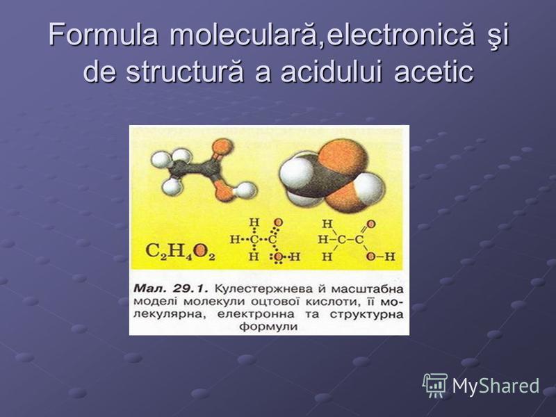 Formula moleculară,electronică şi de structură a acidului acetic