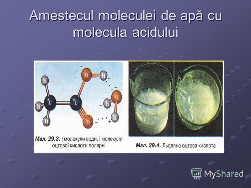 Amestecul moleculei de apă cu molecula acidului