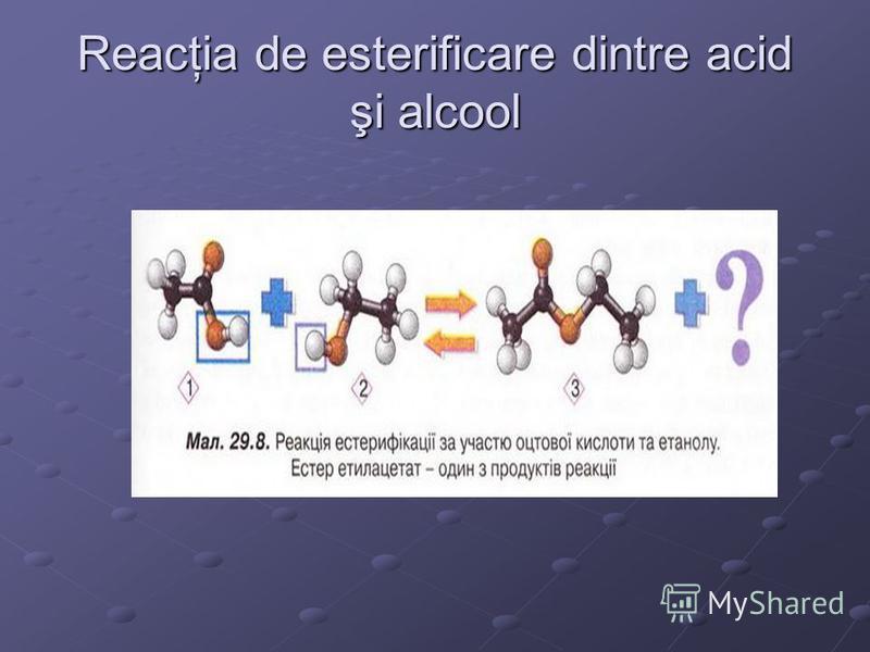 Reacţia de esterificare dintre acid şi alcool