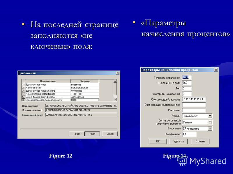 . На последней странице заполняются «не ключевые» поля: Figure 12Figure 14 «Параметры начисления процентов»«Параметры начисления процентов»