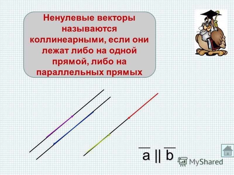 a    b Ненулевые векторы называются коллинеарными, если они лежат либо на одной прямой, либо на параллельных прямых