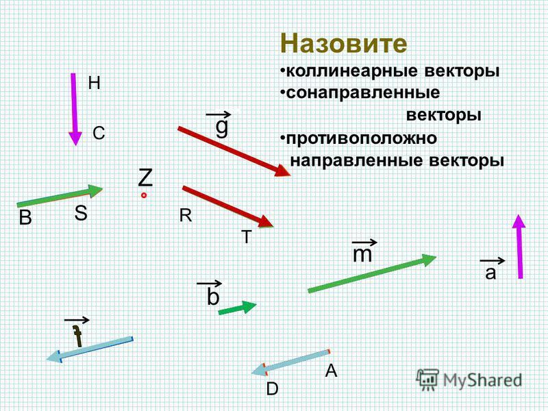 Назовите коллинеарные векторы А В С Z D H S m g R T b a сонаправленные векторы противоположно направленные векторы