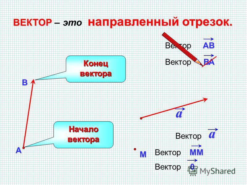 ВАВектор ВЕКТОР направленный отрезок. ВЕКТОР – это направленный отрезок. АВ a Начало вектора Конец вектора АВВектор a M MM 0