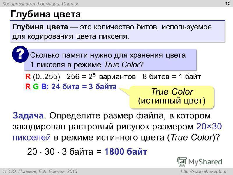 Кодирование информации, 10 класс К.Ю. Поляков, Е.А. Ерёмин, 2013 http://kpolyakov.spb.ru Глубина цвета 13 Сколько памяти нужно для хранения цвета 1 пикселя в режиме True Color? ? R G B: 24 бита = 3 байта R (0..255)256 = 2 8 вариантов 8 битов = 1 байт