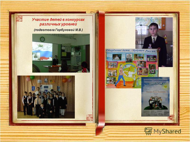 Участие детей в конкурсах различных уровней (подготовка Горбуновой М.В.)