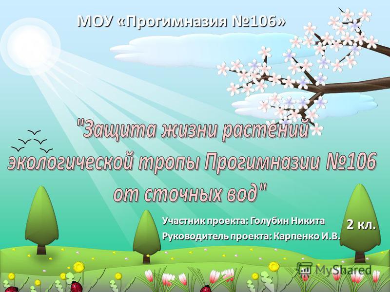 Участник проекта: Голубин Никита Руководитель проекта: Карпенко И.В. МОУ «Прогимназия 106» 2 кл.