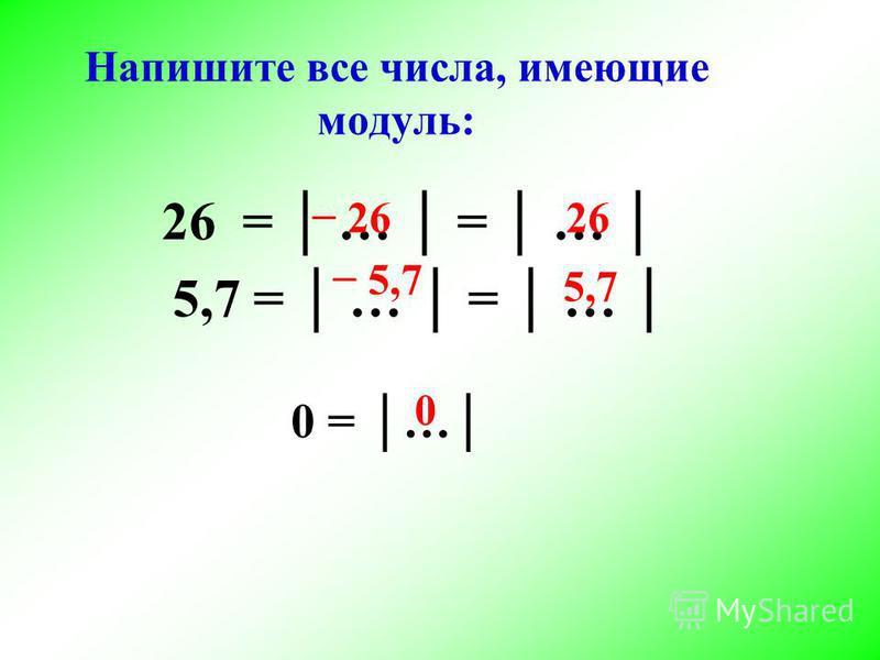 26 = … = … 5,7 = … = … Напишите все числа, имеющие модуль: 0 = … 26 5,7 0