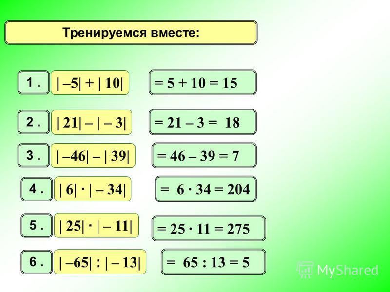 Тренируемся вместе: | –5| + | 10| 1. | 21| – | – 3| 2. | –46| – | 39| 3. | 6| · | – 34| 4. | 25| · | – 11| 5. | –65| : | – 13| 6. = 5 + 10 = 15 = 21 – 3 = 18 = 46 – 39 = 7 = 6 34 = 204 = 25 11 = 275 = 65 : 13 = 5