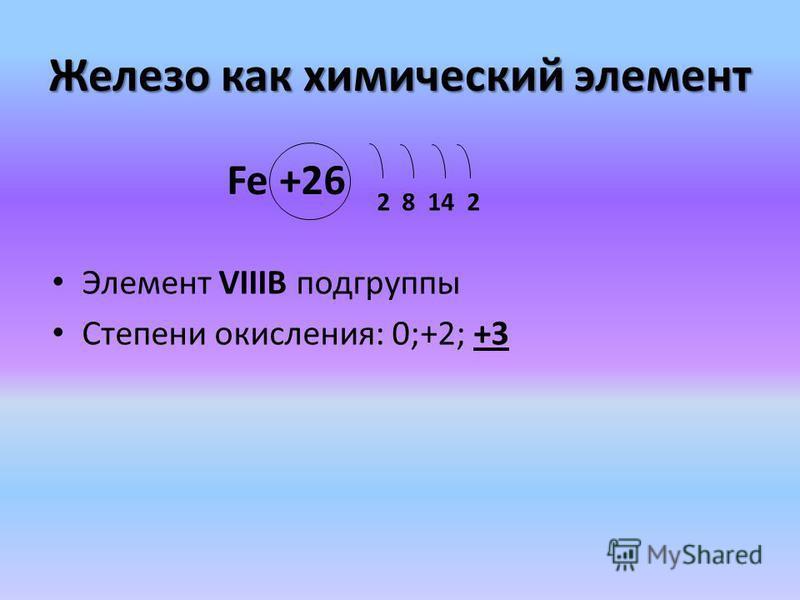 Железо как химический элемент Элемент VIIIB подгруппы Степени окисления: 0;+2; +3 Fe +26 2 8 14 2