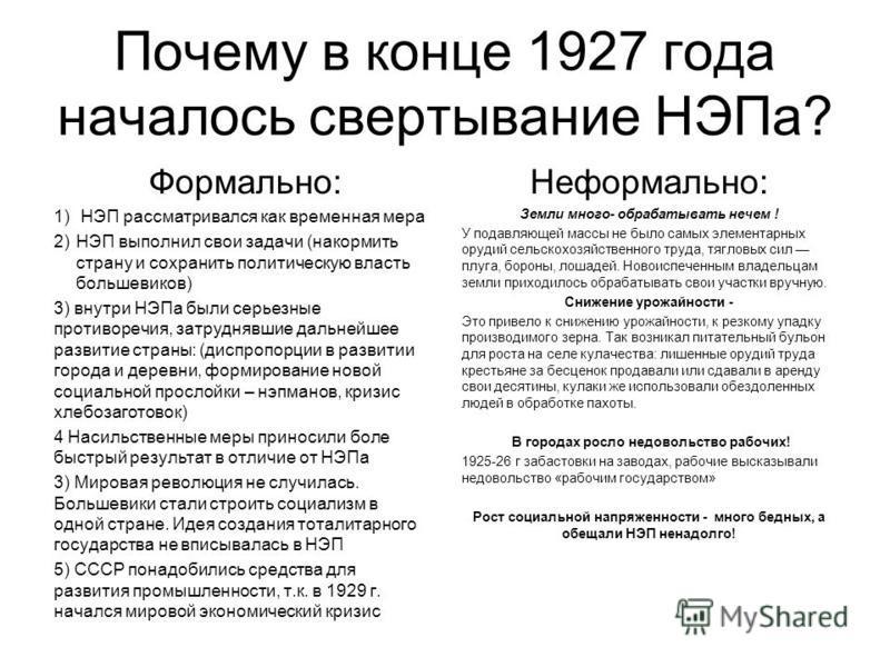 Почему в конце 1927 года началось свертывание НЭПа? Формально: 1) НЭП рассматривался как временная мера 2)НЭП выполнил свои задачи (накормить страну и сохранить политическую власть большевиков) 3) внутри НЭПа были серьезные противоречия, затруднявшие