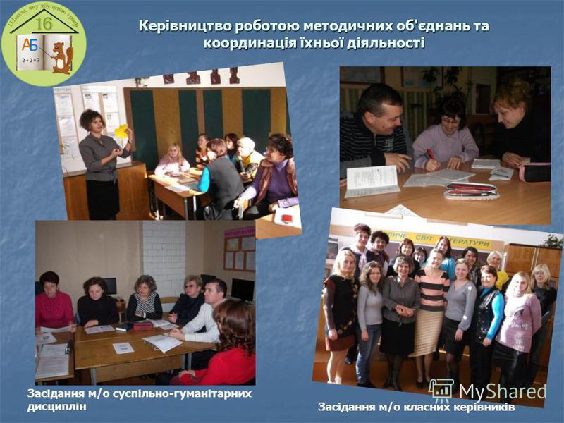 Керівництво роботою методичних об'єднань та координація їхньої діяльності Засідання м/о класних керівників Засідання м/о суспільно-гуманітарних дисциплін