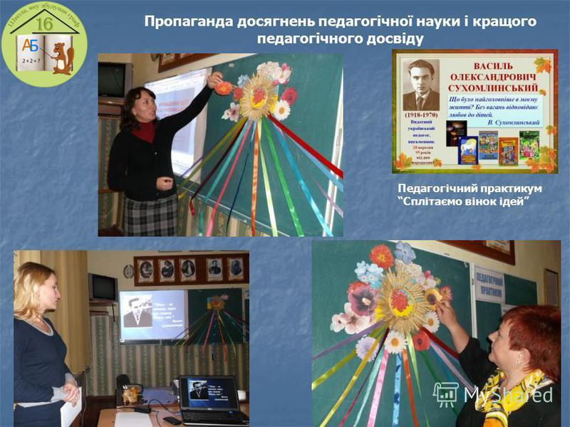 Пропаганда досягнень педагогічної науки і кращого педагогічного досвіду Педагогічний практикум Сплітаємо вінок ідей