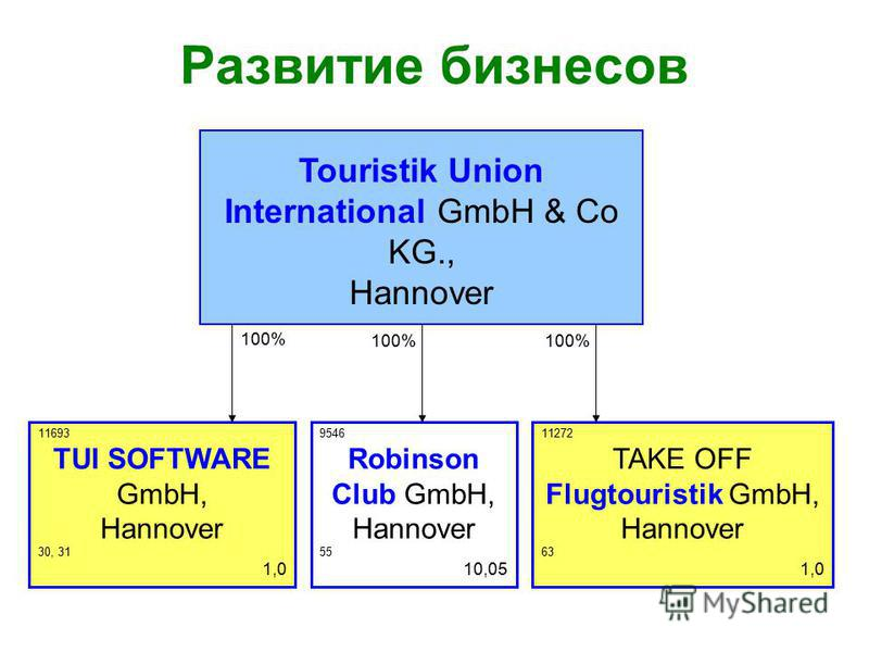 Развитие бизнесов 100% Touristik Union International GmbH & Co KG., Hannover 9546 Robinson Club GmbH, Hannover 55 10,05 11272 TAKE OFF Flugtouristik GmbH, Hannover 63 1,0 11693 TUI SOFTWARE GmbH, Hannover 30, 31 1,0 100%