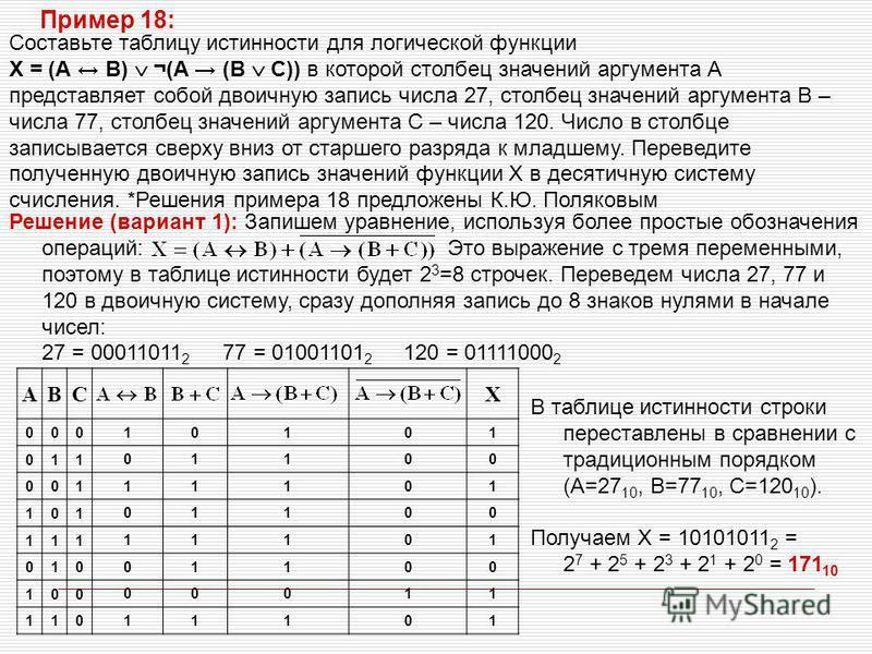 Составьте таблицу истинности для логической функции X = (А B) ¬(A (B C)) в которой столбец значений аргумента А представляет собой двоичную запись числа 27, столбец значений аргумента В – числа 77, столбец значений аргумента С – числа 120. Число в ст