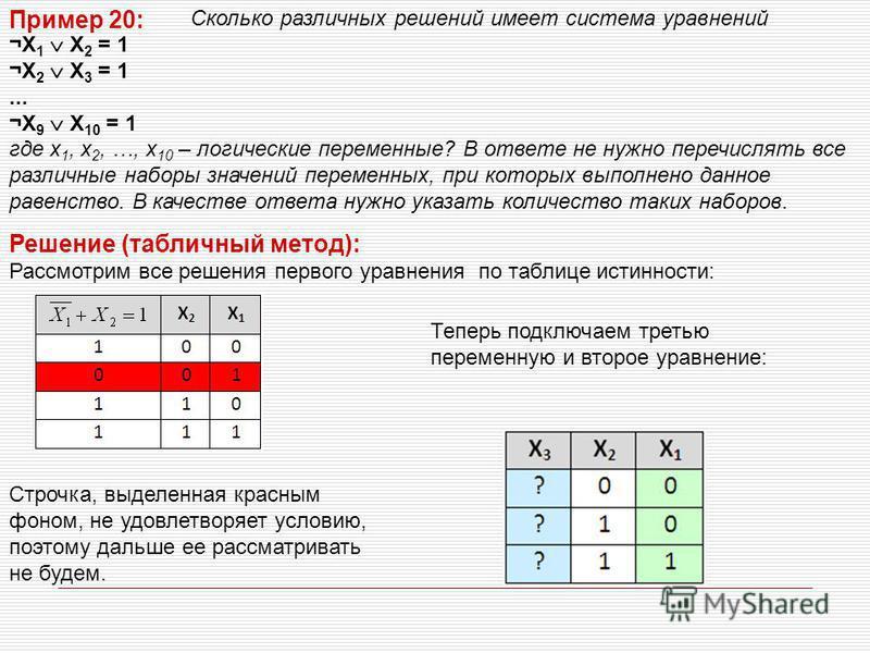 Сколько различных решений имеет система уравнений ¬X 1 X 2 = 1 ¬X 2 X 3 = 1... ¬X 9 X 10 = 1 где x 1, x 2, …, x 10 – логические переменные? В ответе не нужно перечислять все различные наборы значений переменных, при которых выполнено данное равенство