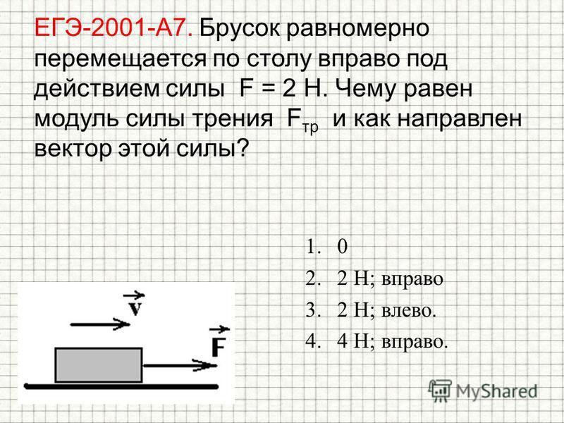 ЕГЭ-2001-А7. Брусок равномерно перемещается по столу вправо под действием силы F = 2 Н. Чему равен модуль силы трения F тр и как направлен вектор этой силы? 1.0 2.2 Н; вправо 3.2 Н; влево. 4.4 Н; вправо.